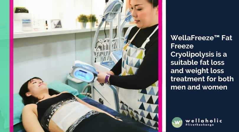 WellaFreeze™ Fat Freeze Cryolipolysis is a suitable fat loss and weight loss treatment for both men and women